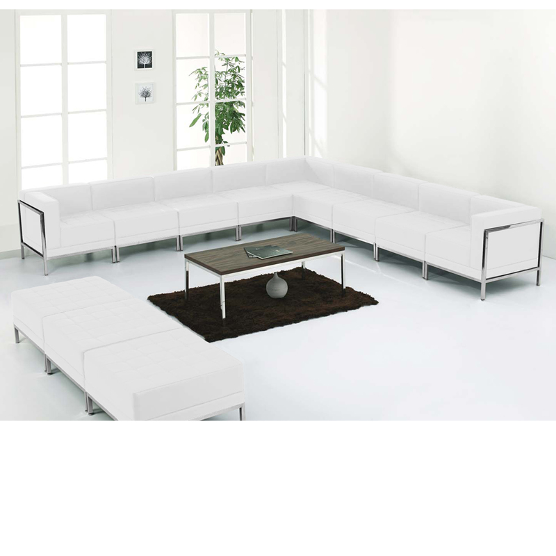 #76 - 12 Piece Imagination Series White Leather Sectional & Ottoman Set