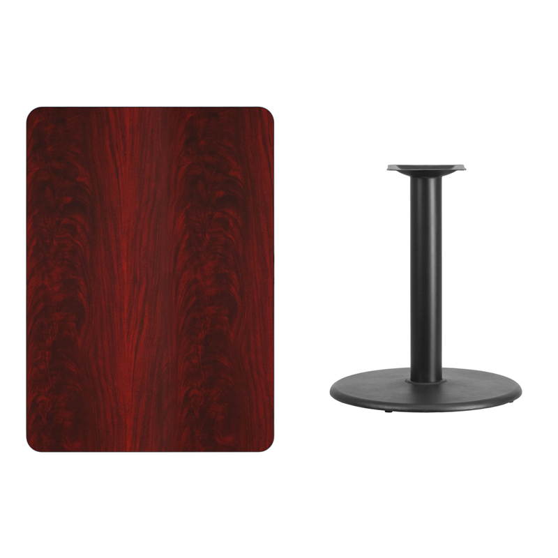 #170 - 30'' X 42'' RECTANGULAR MAHOGANY LAMINATE TABLE TOP WITH 24'' ROUND TABLE HEIGHT BASE