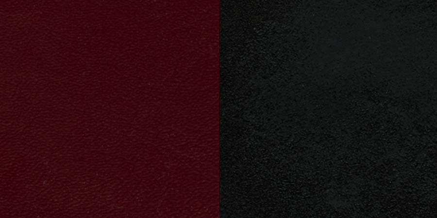 #35 - BLACK CIRCLE BACK METAL RESTAURANT CHAIR - NATURAL WOOD BACK, BURGUNDY VINYL SEAT