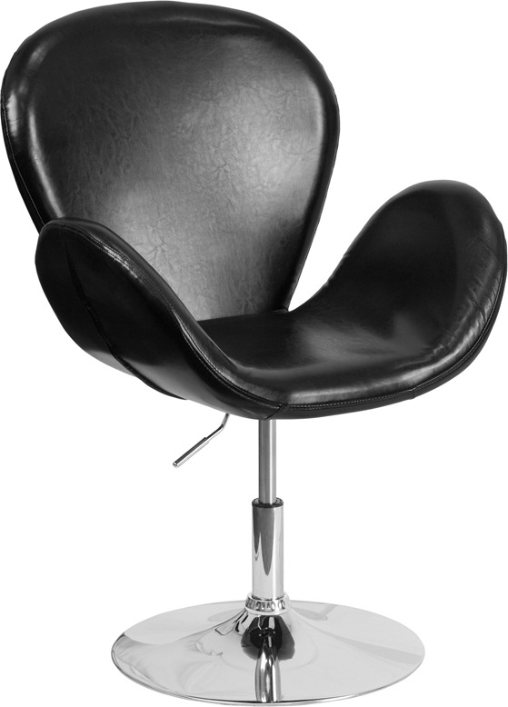 #75 - Retro Style Black Leather Accent Chair with Adjustable Seat Height