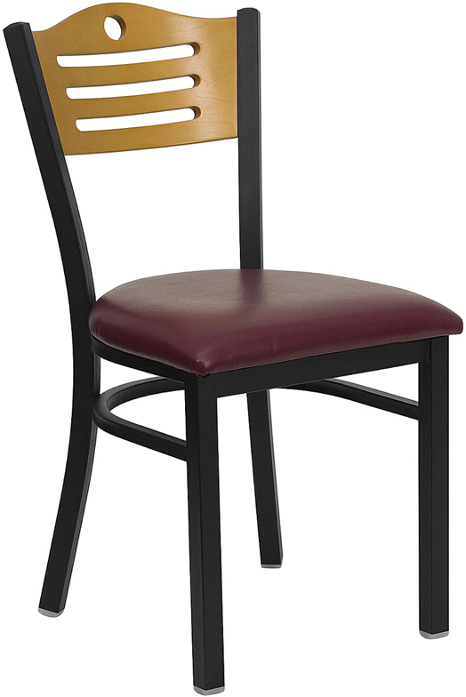 #38 - BLACK SLAT BACK METAL RESTAURANT CHAIR - NATURAL WOOD BACK, BURGUNDY VINYL SEAT