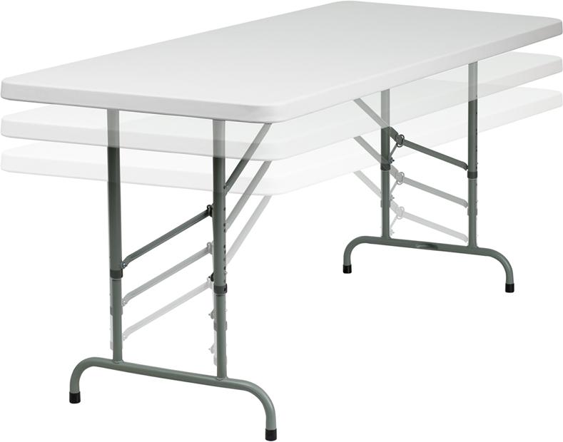 """#14 - 30"""" X 72"""" HEIGHT ADJUSTABLE PLASTIC FOLDING TABLE"""