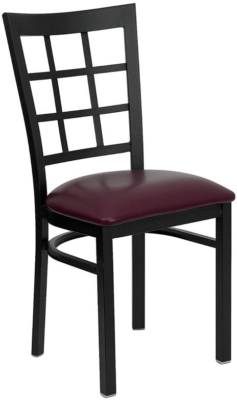 #41 - BLACK WINDOW BACK METAL RESTAURANT CHAIR - BURGUNDY VINYL SEAT