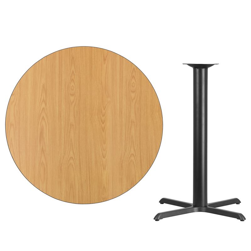 #53 - 42'' Round Natural Laminate Table Top with 33'' x 33'' Bar Height Base