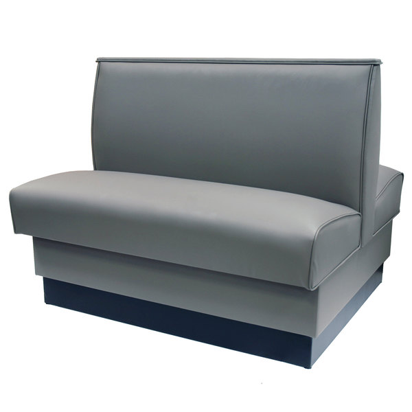 "#4 - 42""H Gunmetal Plain Double Back Fully Upholstered Booth"