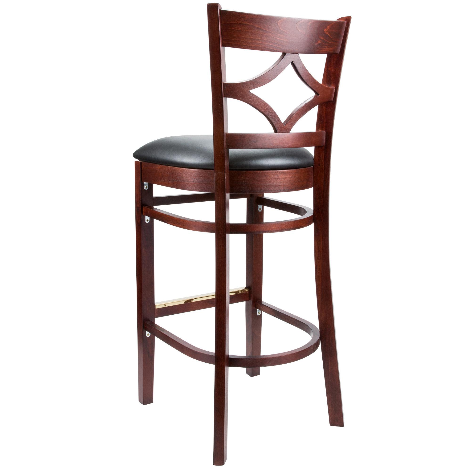 #103 - Mahogany Wood Finished Diamond Back Restaurant Barstool with Black Vinyl Seat