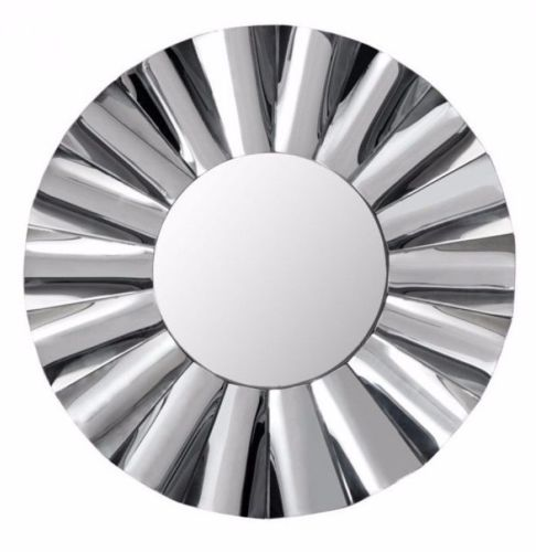 #2 - Modern Stylish Design Round Mirror w/Wavy Design Reflective Frame