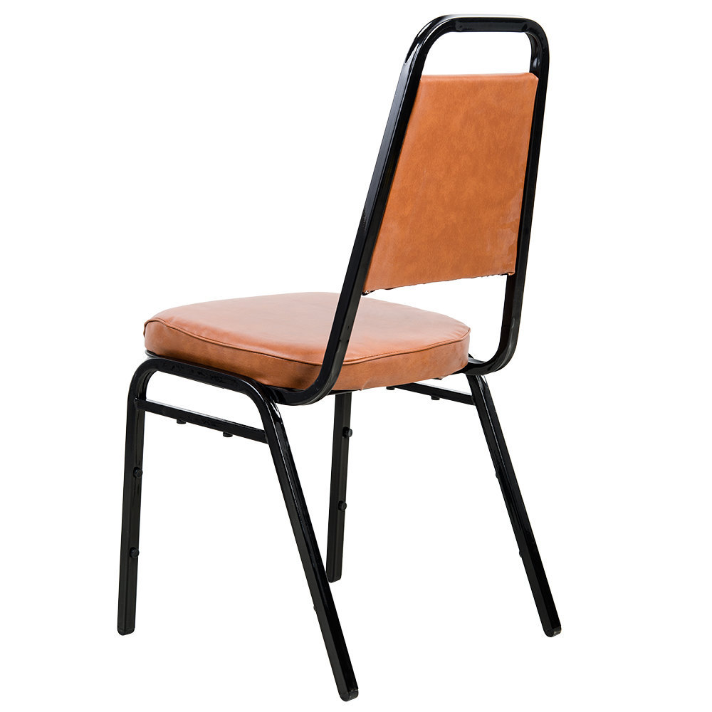 """#20 - Trapezoidal Back Stackable Banquet Chair With 2"""" Brown Vinyl Seat"""