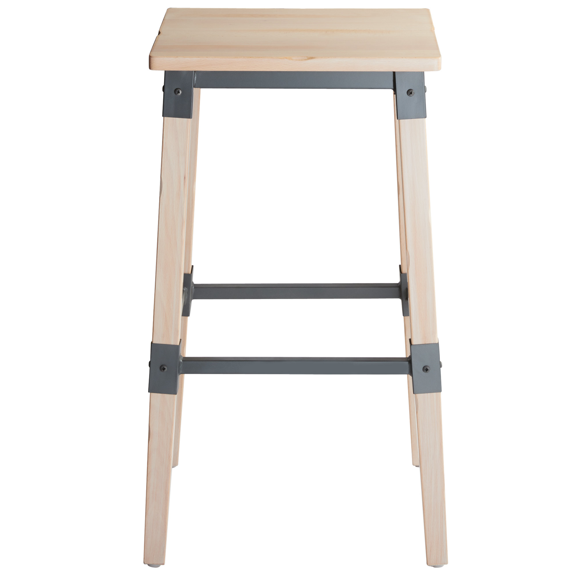 #57 - Rustic Industrial Style Backless Bar Stool with White Wash Finish