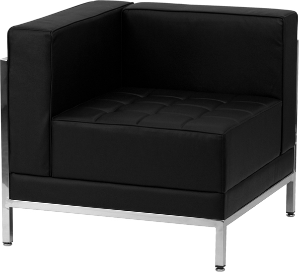#57 - 12 Piece Imagination Series Black Leather Sectional & Ottoman Set