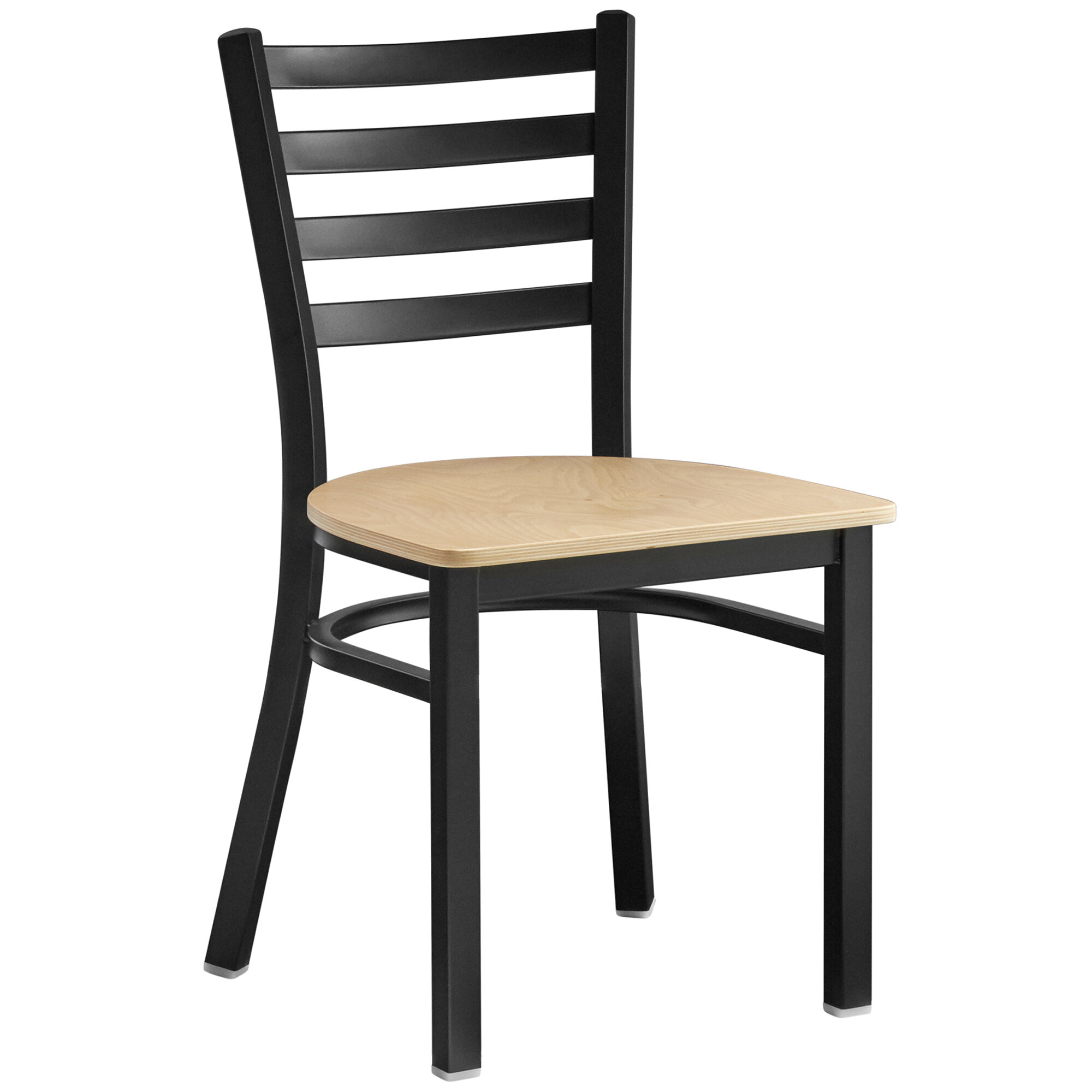 #198 - Black ladder Back Design Restaurant Metal Chair with Natural Wood Seat