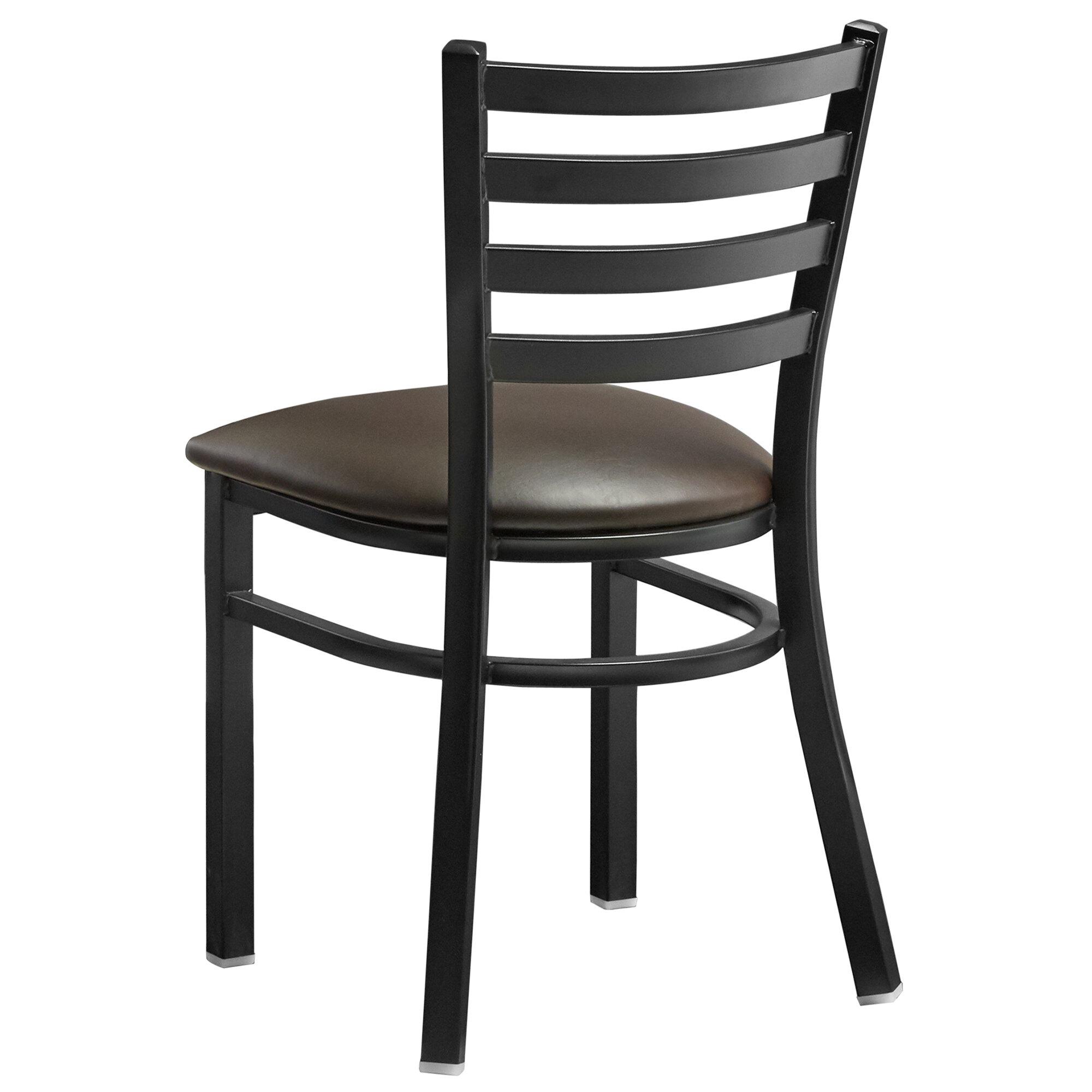 #189 - Black ladder Back Design Restaurant Metal Chair with Dark Brown Vinyl Seat