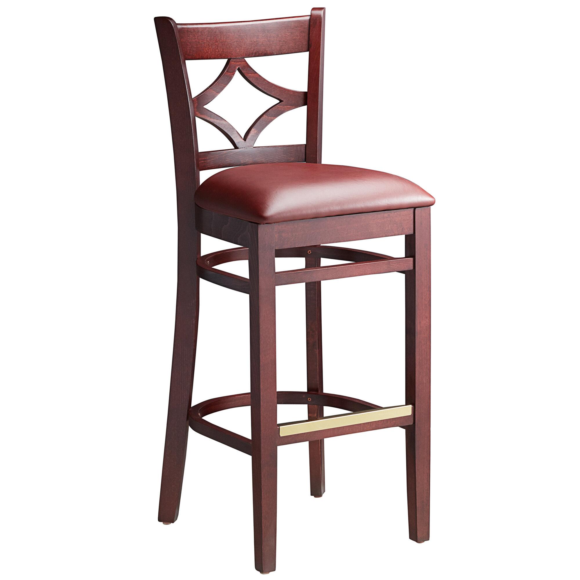 #104 - Mahogany Wood Finished Diamond Back Restaurant Barstool with Burgundy Vinyl Seat