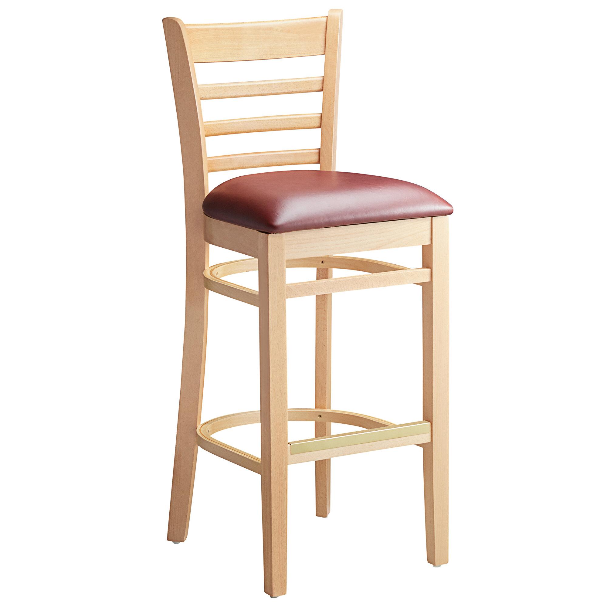 #72 - Natural Wood Finished Ladder Back Restaurant Barstool with Burgundy Vinyl Seat