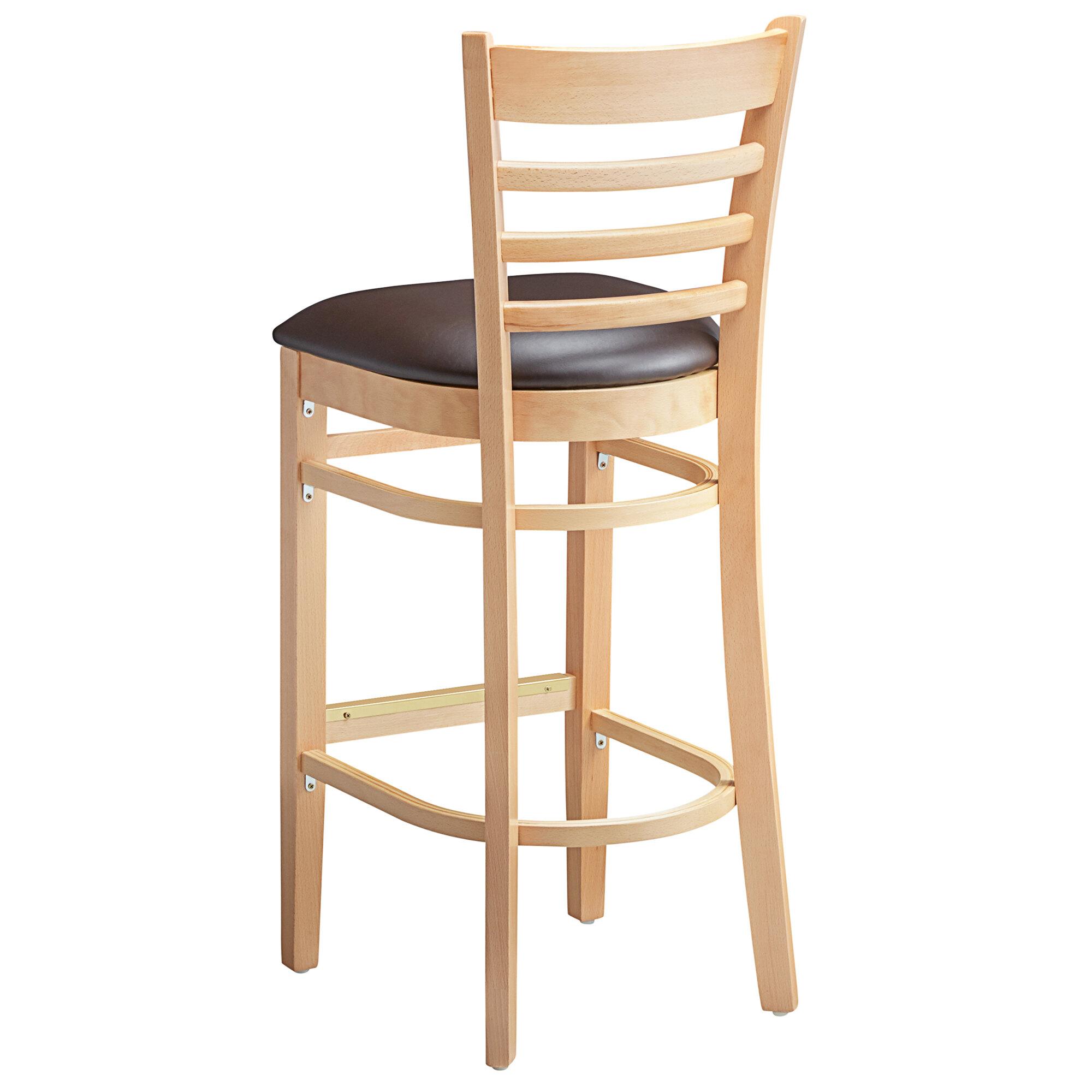 #73 - Natural Wood Finished Ladder Back Restaurant Barstool with Dark Brown Vinyl Seat