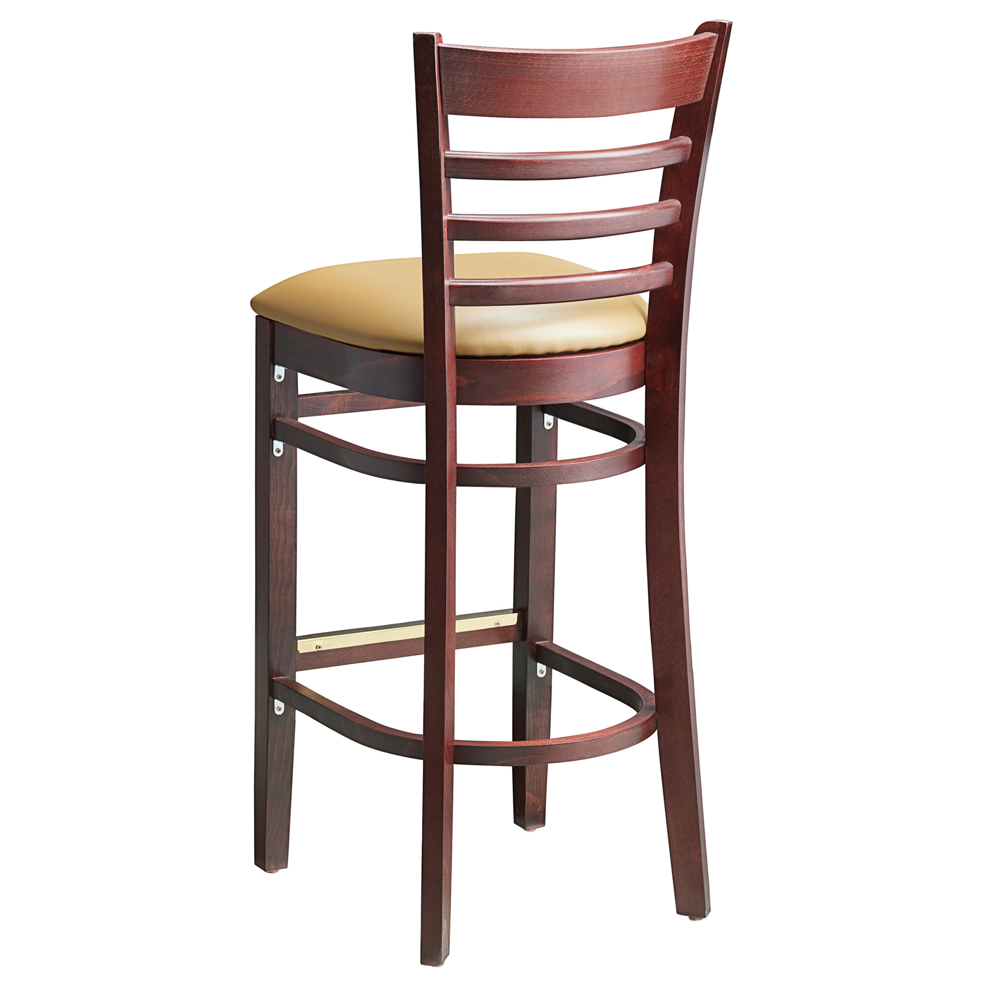 #68 - Mahogany Wood Finished Ladder Back Restaurant Barstool with Light Brown Vinyl Seat