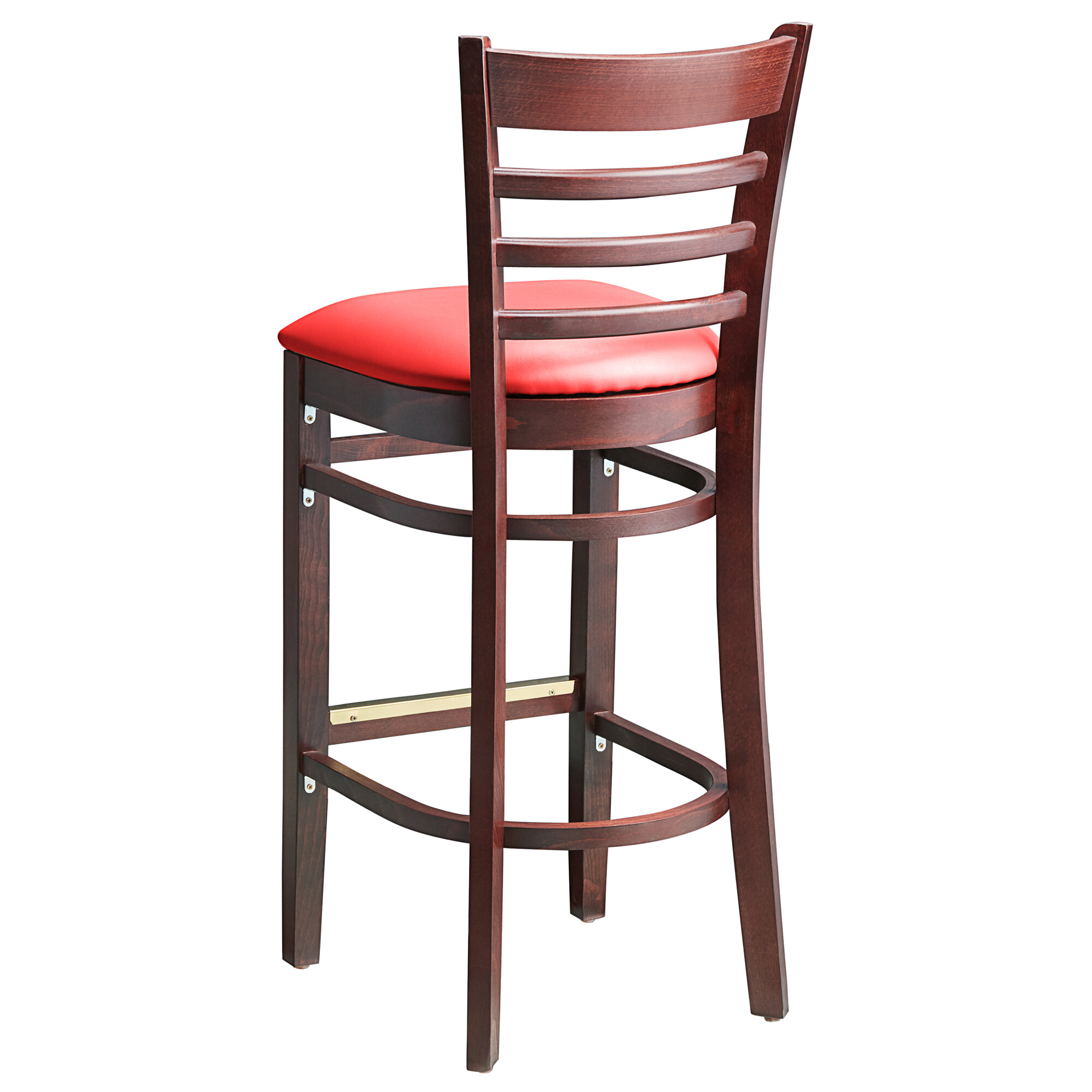 #69 - Mahogany Wood Finished Ladder Back Restaurant Barstool with Red Vinyl Seat