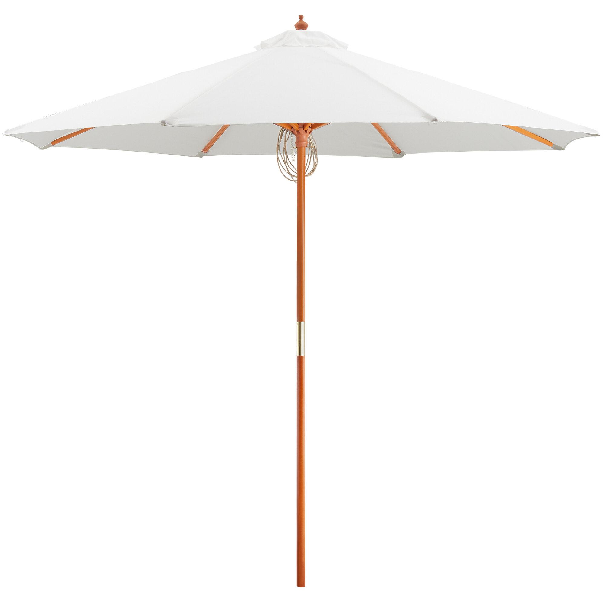 "#17 - 9 FT Round White Pulley Lift Umbrella with 1 1/2"" Hardwood Pole"