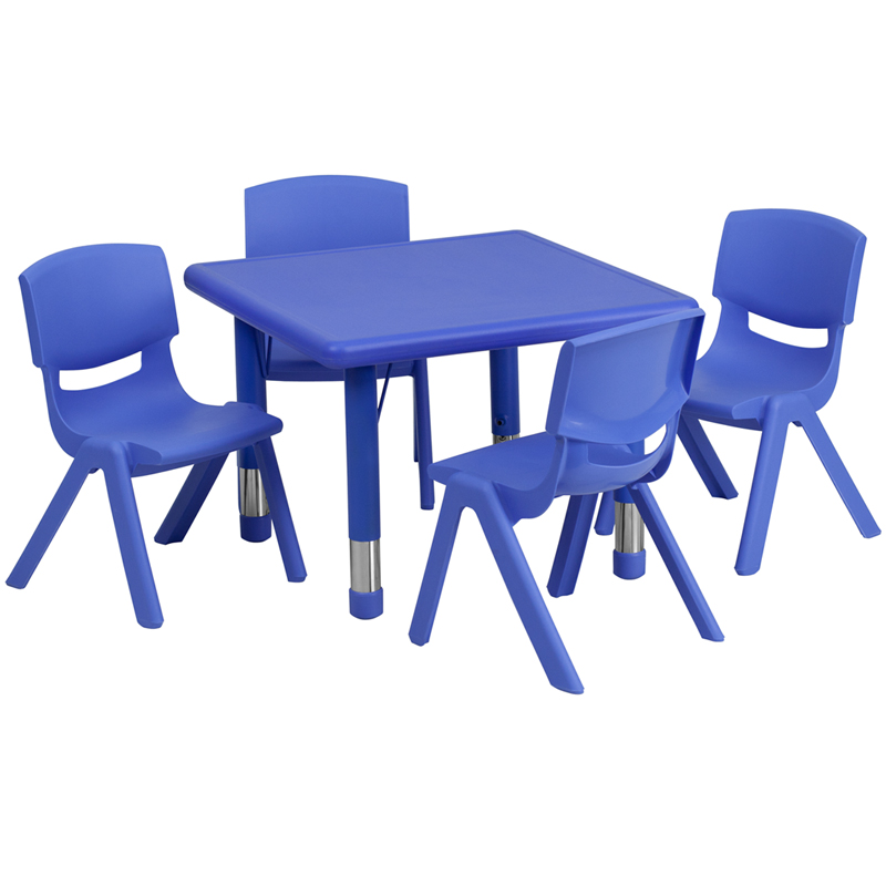 #20 - 24'' SQUARE ADJUSTABLE BLUE PLASTIC ACTIVITY TABLE SET WITH 4 SCHOOL STACK CHAIRS