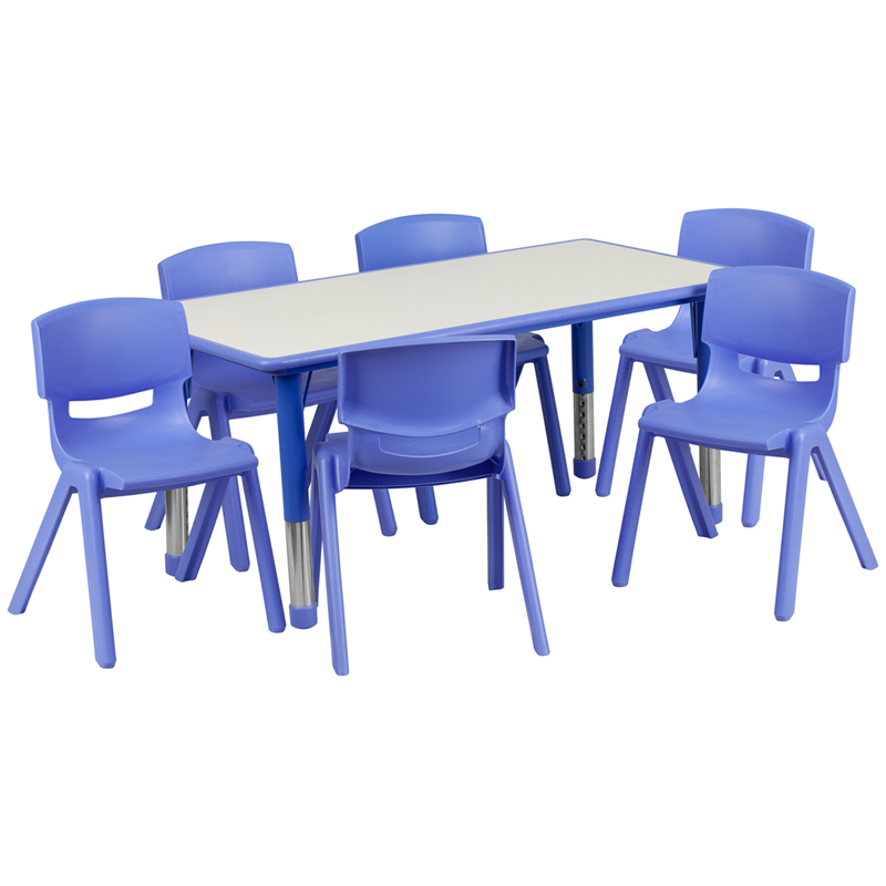#10 - 23.625''W X 47.25''L ADJUSTABLE RECTANGULAR BLUE PLASTIC ACTIVITY TABLE SET WITH 6 SCHOOL STACK CHAIRS