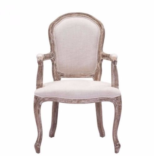 #89 - Antique Elegant Style Accent Dining Chair in Beige Polyester Linen & Oak Wood