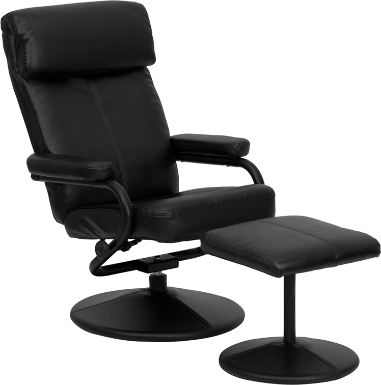 #12 - CONTEMPORARY BLACK LEATHER RECLINER AND OTTOMAN WITH LEATHER WRAPPED BASE