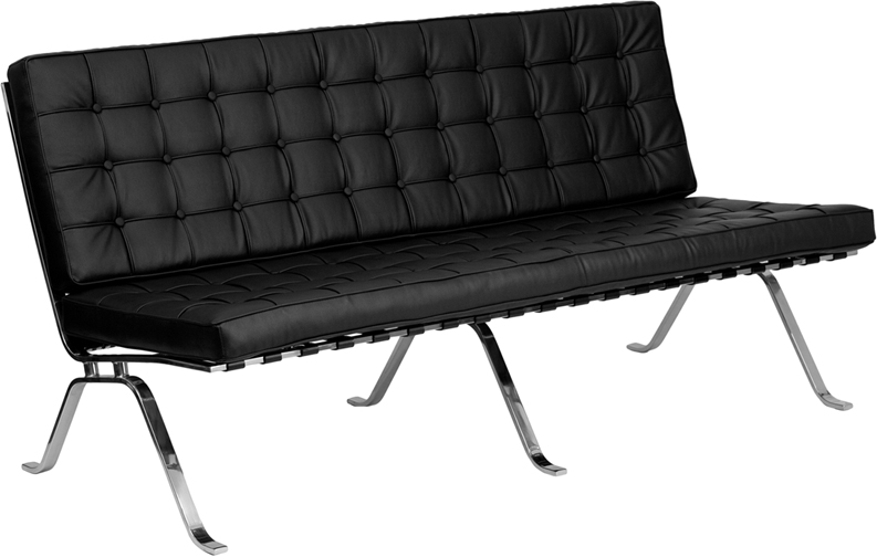 #1 -  VINTAGE CONTEMPORARY BLACK LEATHER SOFA WITH CURVED LEGS