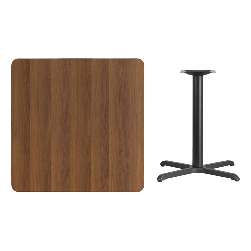 #94 - 36'' SQUARE WALNUT LAMINATE TABLE TOP WITH 30'' X 30'' TABLE HEIGHT BASE