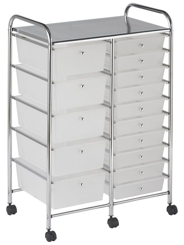 #54 - 15 Drawer Mobile Organizer in White