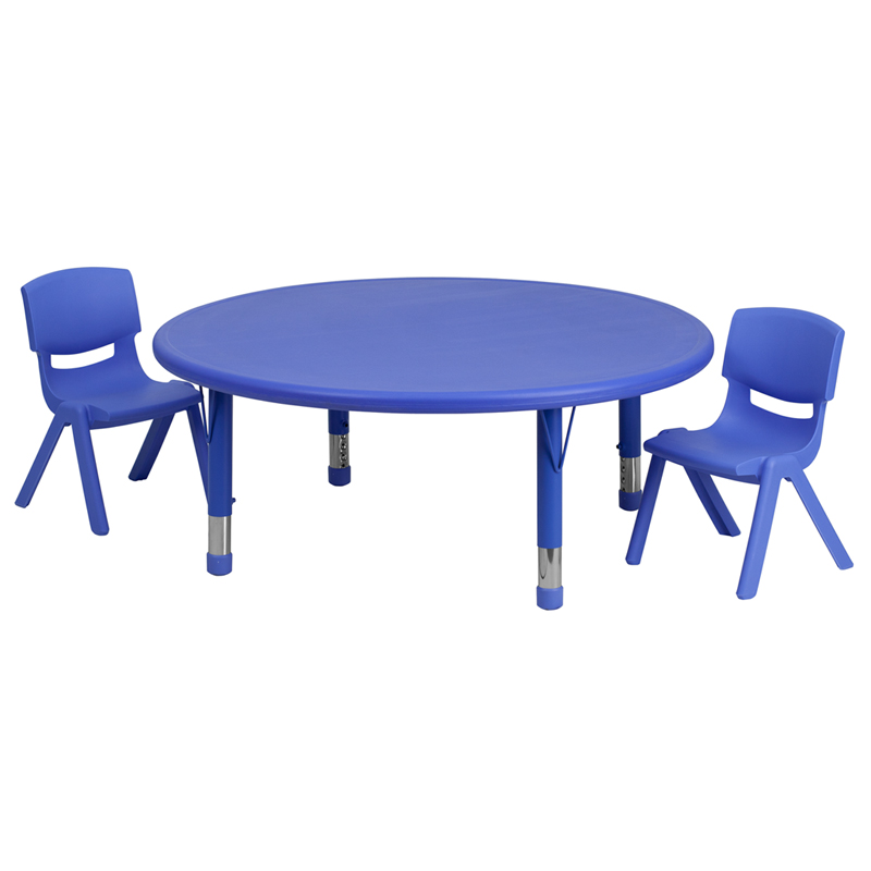 #25 - 45'' ROUND ADJUSTABLE BLUE PLASTIC ACTIVITY TABLE SET WITH 2 SCHOOL STACK CHAIRS