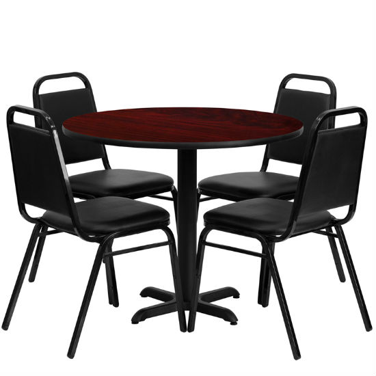 #3 - 36'' ROUND MAHOGANY LAMINATE TABLE SET WITH 4 BLACK TRAPEZOIDAL BACK BANQUET CHAIRS