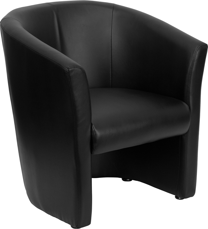 #13 - BLACK LEATHER BARREL-SHAPED GUEST CHAIR