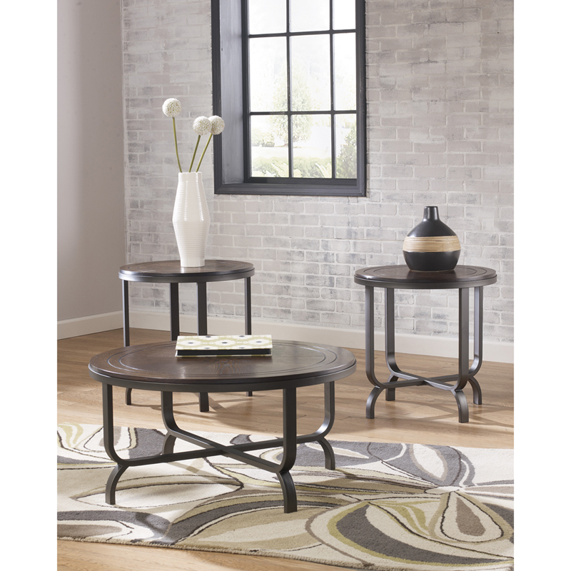 #18 - SIGNATURE DESIGN BY ASHLEY FERLIN 3 PIECE OCCASIONAL TABLE SET