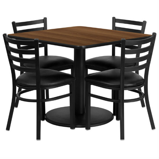 #32 - 36'' SQUARE WALNUT LAMINATE TABLE SET WITH 4 LADDER BACK METAL CHAIRS - BLACK VINYL SEAT