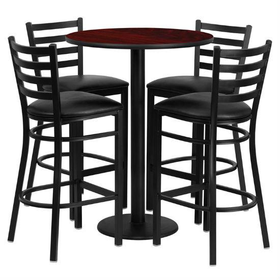 #44 - 30'' ROUND MAHOGANY LAMINATE TABLE SET WITH 4 LADDER BACK METAL BAR STOOLS - BLACK VINYL SEAT