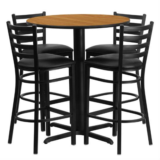 #45 - 30'' ROUND NATURAL LAMINATE TABLE SET WITH 4 LADDER BACK METAL BAR STOOLS - BLACK VINYL SEAT