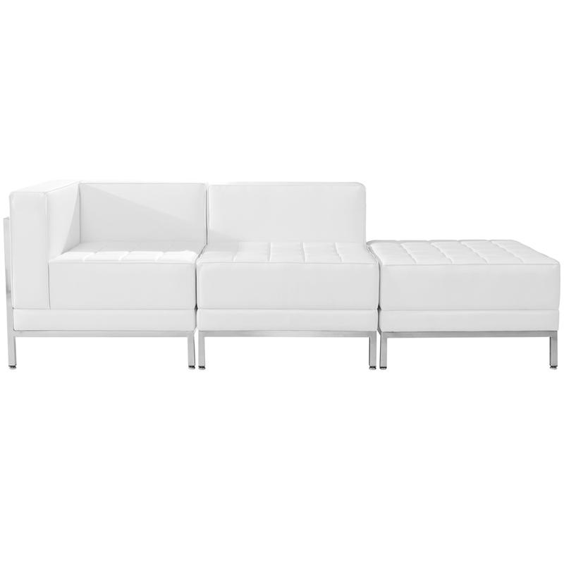 #62 - 3 Piece Imagination Series White Leather Chair & Ottoman Set