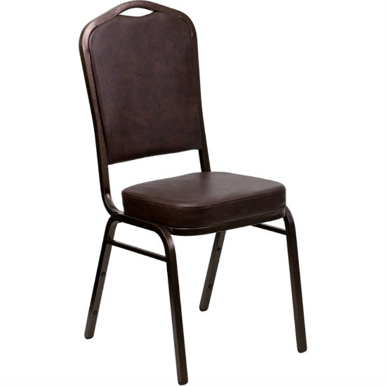 #4 - CROWN BACK BANQUET CHAIR WITH BROWN VINYL AND COPPER VEIN FRAME