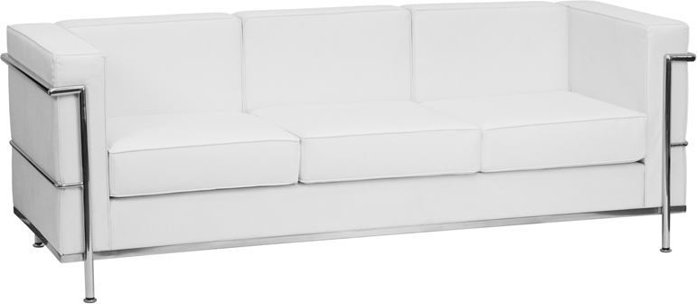 #14 - REGAL SERIES CONTEMPORARY WHITE LEATHER SOFA WITH ENCASING FRAME