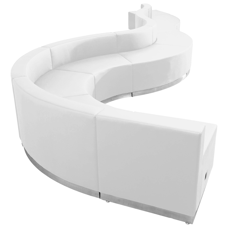 #97 -  LOUNGE SERIES WHITE LEATHER RECEPTION CONFIGURATION, 9 PIECES