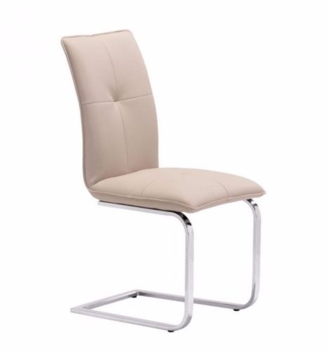 #69 - (2 PACK)Contemporary Slim Silhouette Design Dining Chair in Taupe Leatherette
