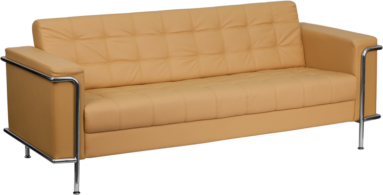 #19 - LESLEY SERIES CONTEMPORARY LIGHT BROWN LEATHER SOFA WITH ENCASING FRAME