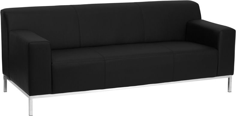 #22 - DEFINITY SERIES CONTEMPORARY BLACK LEATHER SOFA WITH STAINLESS STEEL FRAME