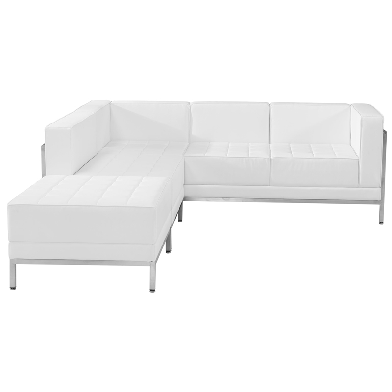 #67 - 3 Piece Imagination Series White Leather Sectional Configuration