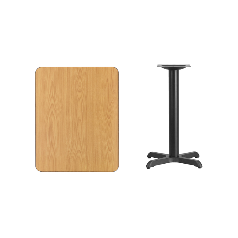 #124 - 24'' X 30'' RECTANGULAR NATURAL LAMINATE TABLE TOP WITH 22'' X 22'' TABLE HEIGHT BASE