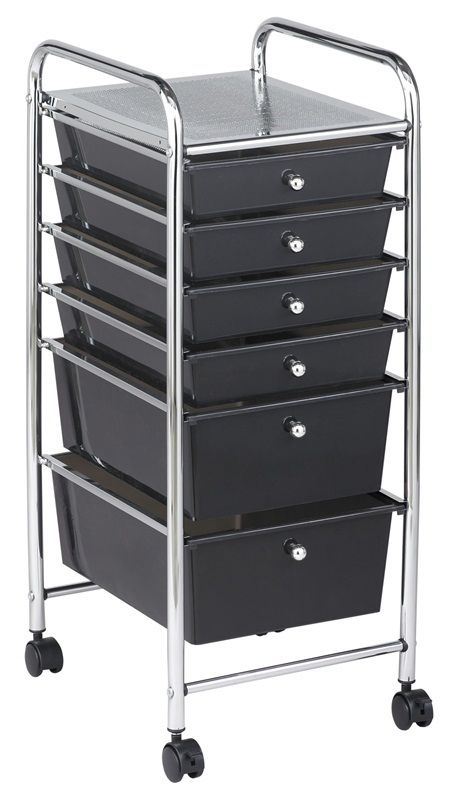 #62 - 6 Drawer Mobile Organizer in Black