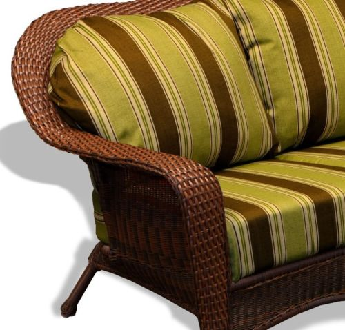 #63 - Outdoor Patio Garden Furniture Java Resin Wicker Sofa - Landry Stripe Malt