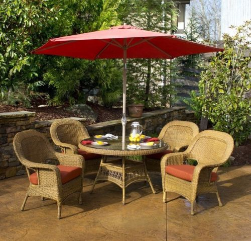 #110 - 5 Piece Outdoor All Weather Patio Furniture Mojave Resin Wicker Dining Set