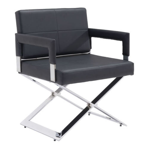 #20 - (2 PACK)Modern Director Style Accent Dinning Chair in Soft Black Leatherette