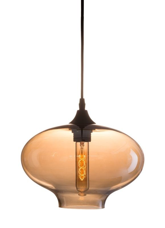 #70 - Antique Voluptuously Curve Ceiling Lamp w/Metal & Tea Infused Glass - Home Decor